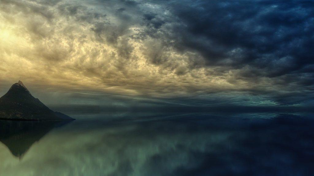 sunset, ocean, island