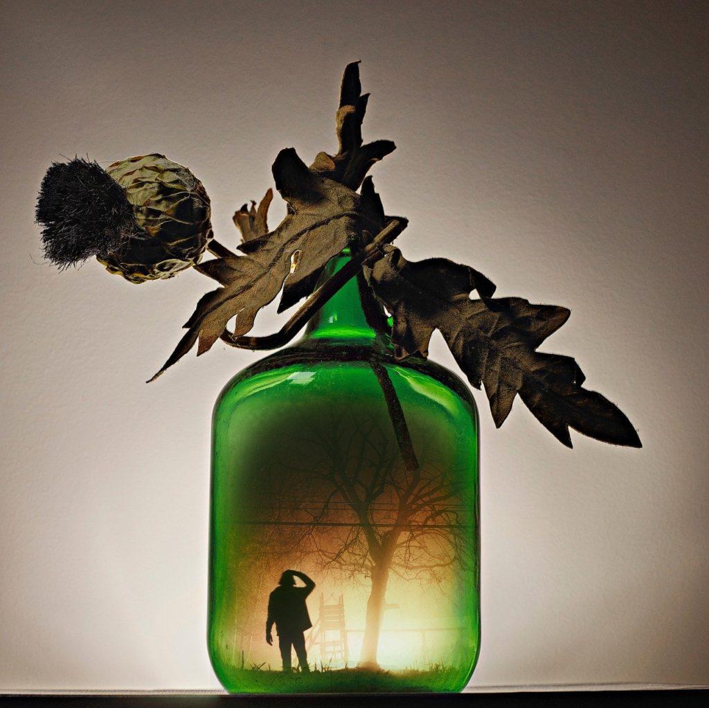 jug, glass, man